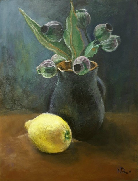 Natalie Doubrovski - Still Life with Lemon - Green