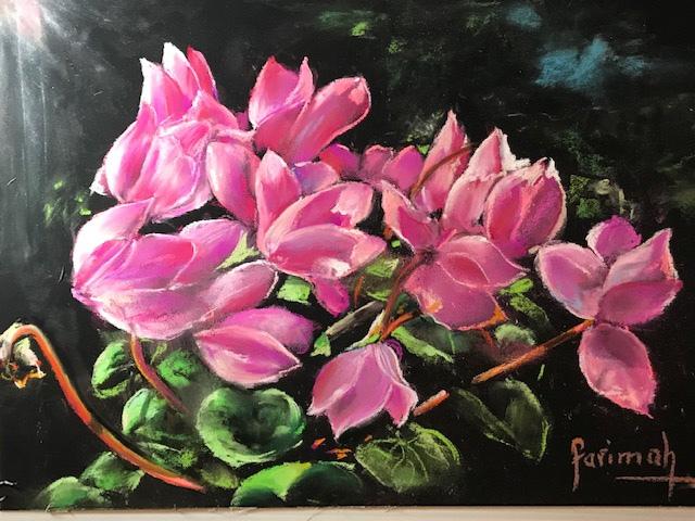 Farimah Eshraghi - Cyclamens - pastel