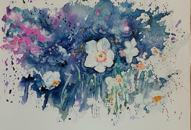 Natalie Doubrovski - Daffodils - watercolour on yupo paper