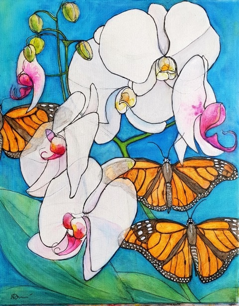 Natalie Doubrovksi - Orchids and Butterflies -watercolour