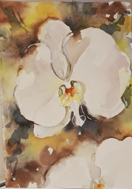 Natalie Doubrovksi - Orchids 1 - watercolour