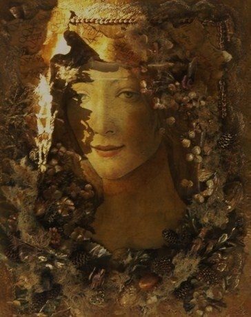 Ian A Hawkins - Homage to Flora - mixed media collage: found objects