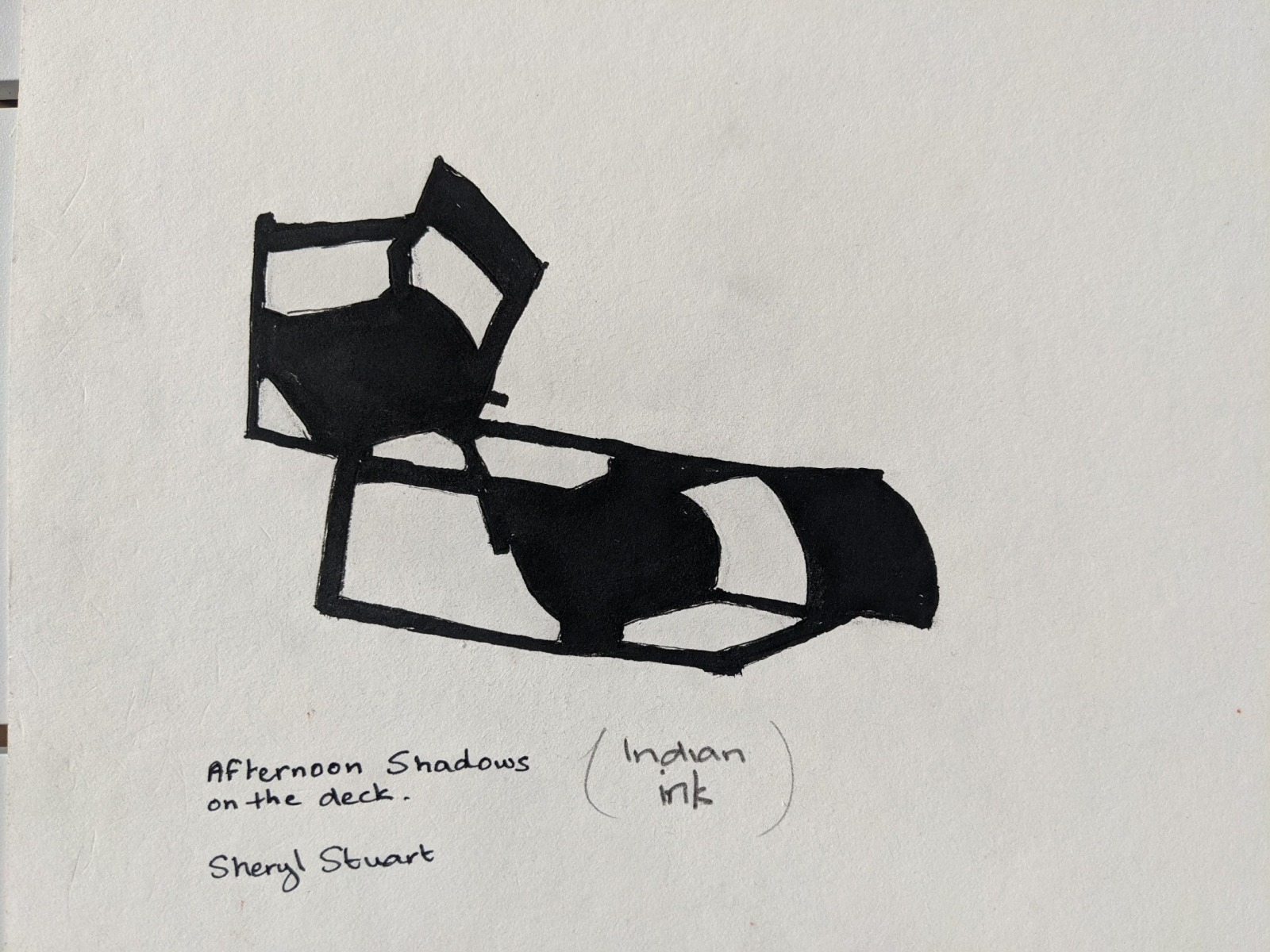 Sheryl Stuart - Afternoon Shadows on the Deck - Indian Ink
