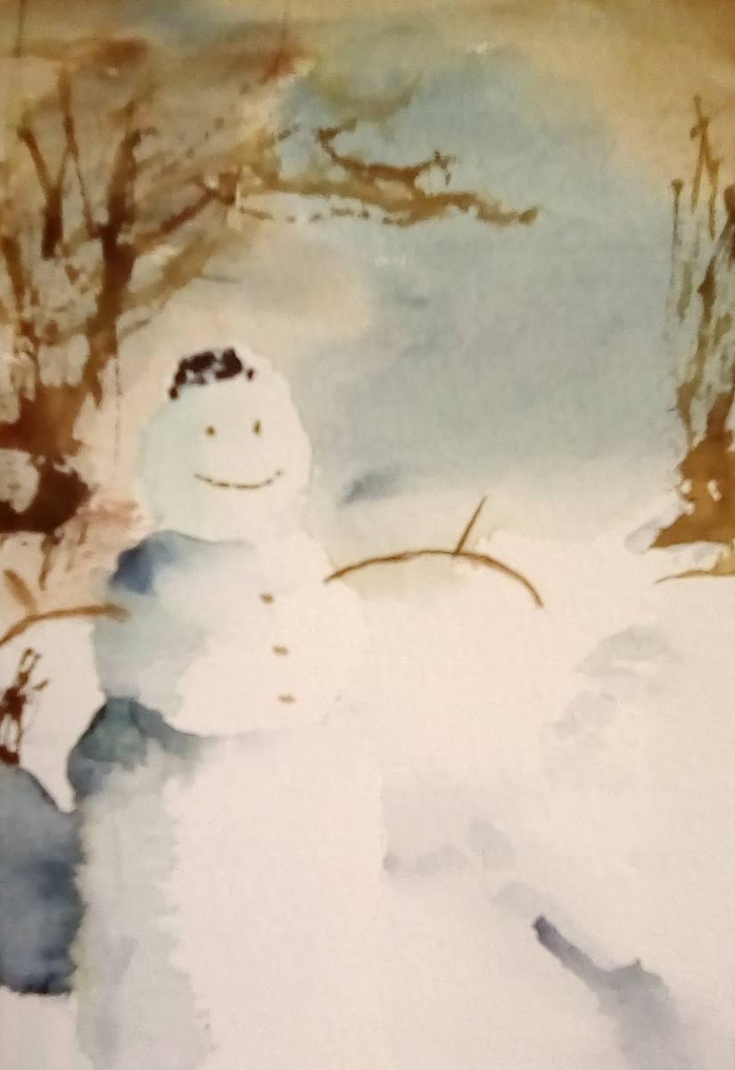 Karen Connolly - Canadian April Snowman - watercolour