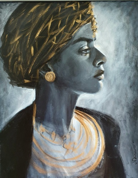 Natalie Doubrovski - Lady Wearing Turban - acrylic