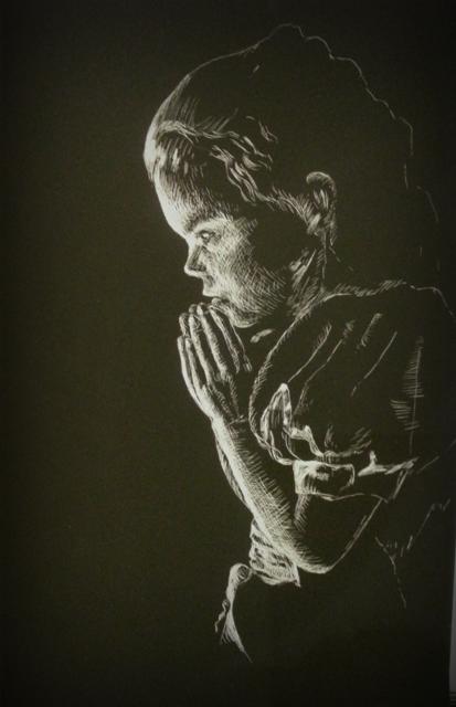 Natalie Doubrovski - Praying Girl - Scratch art