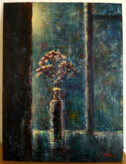 Natalie Doubrovski - Night Window - Texture and acrylic