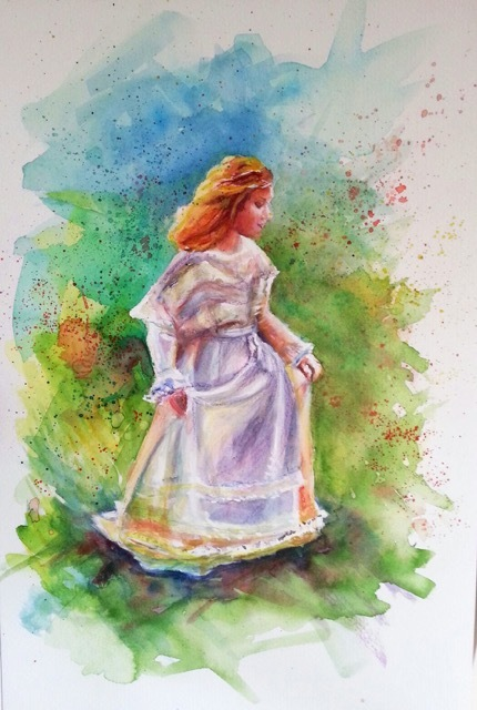 Natalie Doubrovski - A Girl in a White Dress - Watercolour
