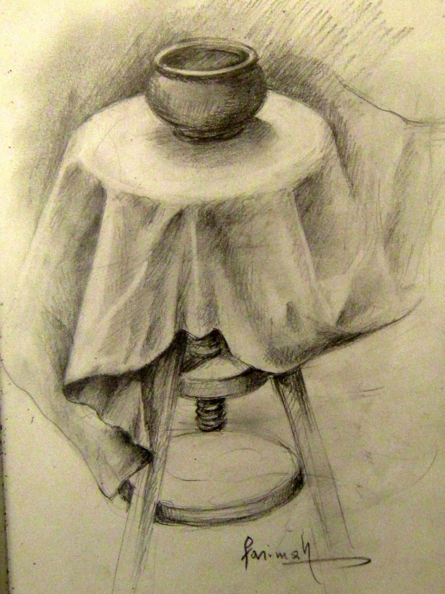 Farimah Eshraghi - Still Life With Drapes - Charcoal