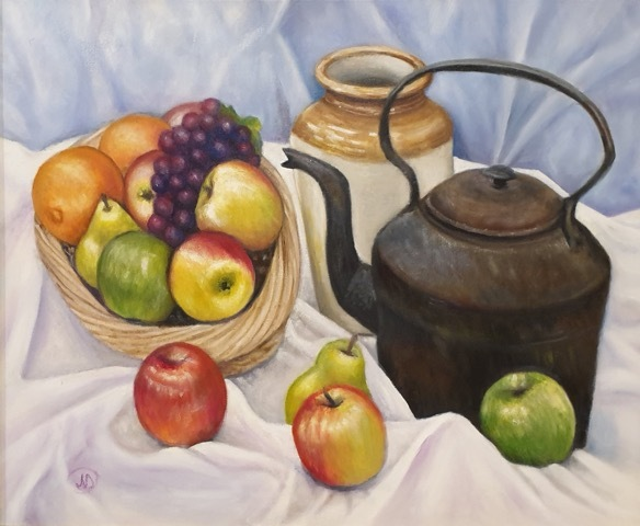 Natalie Doubrovski - Still Life with old Kettle and Fruits - Oil