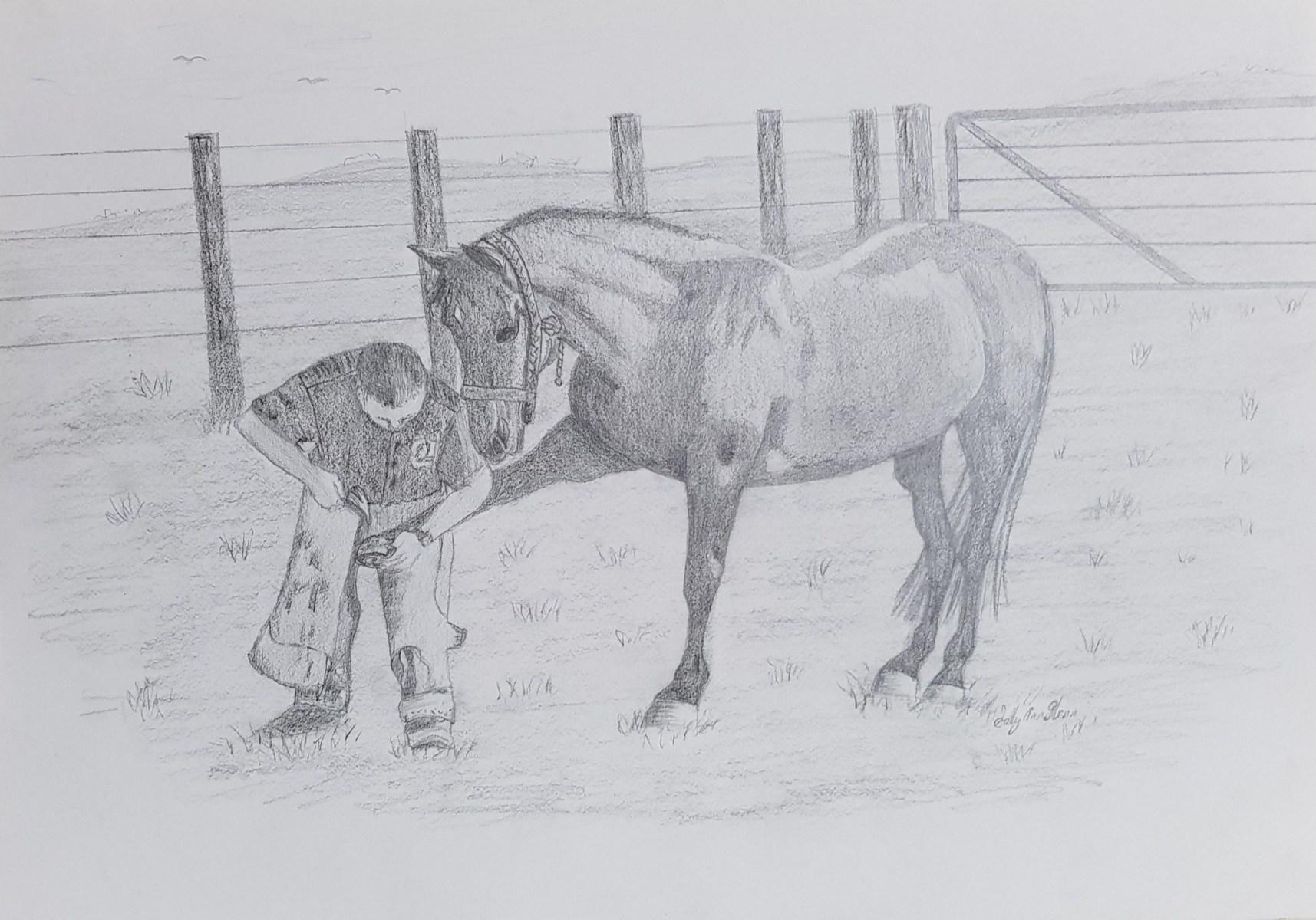 A Man Fixing His Horse's Shoe - Sally Ann Glenn