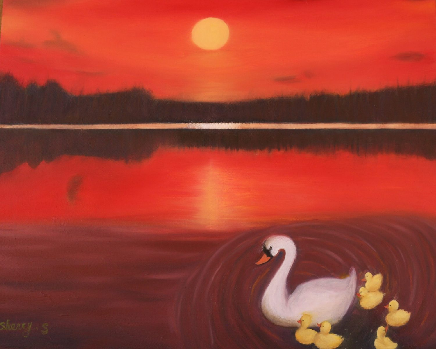Sherry Shih - Swans in Sunset
