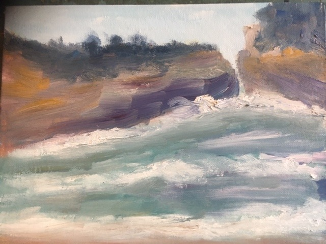 Liz Eades - A view of Loch Ard Gorge as painted at home